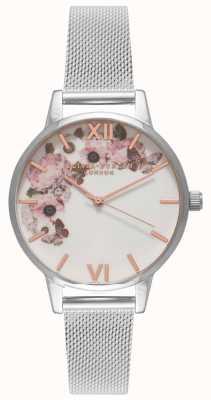 Olivia Burton | Frauen | Signatur Blumen Zifferblatt | stahlgeflecht armband | OB16WG30