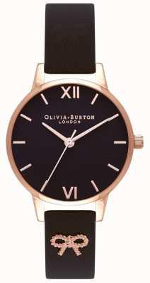 Olivia Burton | Frauen | schwarzes Zifferblatt | Vintage Bogen schwarzer Gurt | OB16VB07