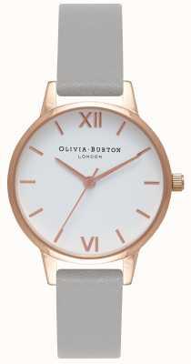 Olivia Burton   Frauen   weißes Zifferblatt   graues Lederband   OB16MDW05