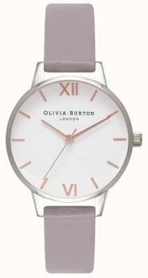 Olivia Burton   Frauen   weißes Zifferblatt   grau lila Lederband   OB16MDW26