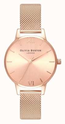 Olivia Burton | Frauen | midi | Sonnenstrahl Zifferblatt | Roségold-Mesh-Armband | OB16MD84