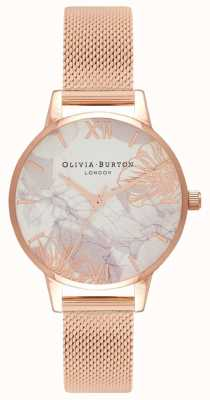 Olivia Burton | Frauen | abstrakte Blumen | roségoldes Netzarmband | OB16VM11