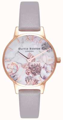 Olivia Burton | Frauen | Marmor Blumen | grau lila Lederband | OB16CS14
