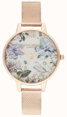 Olivia Burton | Frauen | bejeweled Blumen | roségoldes Netzarmband | OB16BF27