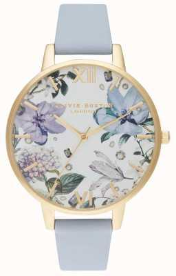 Olivia Burton | Frauen | bejeweled florals | Kreideblaues Lederband | OB16BF21