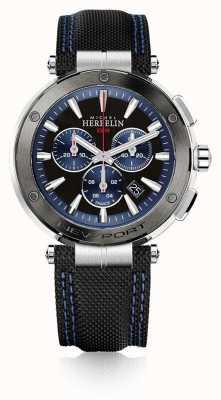 Michel Herbelin | herren | newport | blauer und schwarzer chronograph | Gummi | 37688/AG65