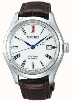 Seiko Presage Herren Automatikuhrwerk aus braunem Leder mit weißem Zifferblatt SPB095J1