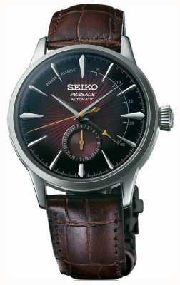 Seiko Presage automatische schwarze Katze Martini 'Cocktail Time' braunes Leder SSA393J1