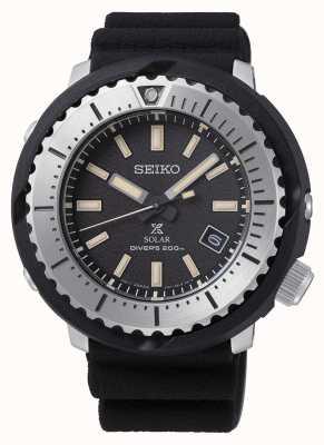Seiko Prospex Solar Herren schwarzes Zifferblatt Taucher 200m schwarzes Armband silv SNE541P1