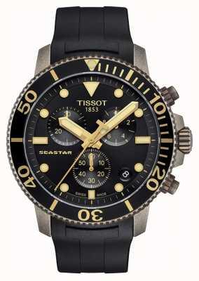 Tissot | herren seastar | schwarzes chronographen zifferblatt | schwarzes Kautschukband T1204173705101