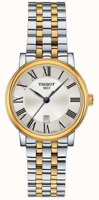 Tissot | Womens Carson | zweifarbiger Edelstahl | silbernes Zifferblatt | T1222102203300