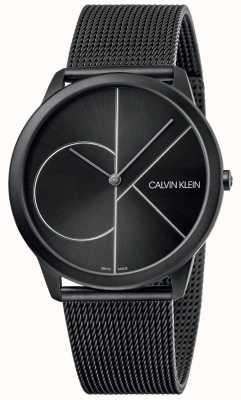 Calvin Klein Minimal | schwarzes mesh armband | schwarzes Zifferblatt | K3M5T451