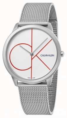 Calvin Klein Minimal | silbernes mesh armband | weißes Zifferblatt | K3M51152