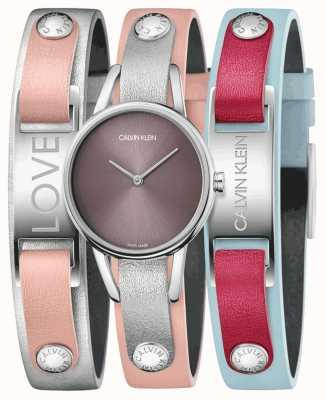 Calvin Klein | meine Kälber rosa Lederband | uhr und armband set | K9D231ZZ