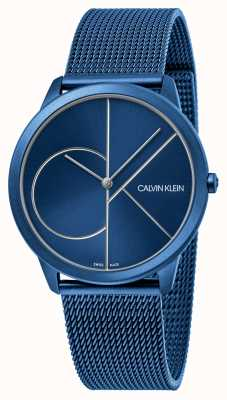 Calvin Klein Minimal | blaues mesh armband | blaues Zifferblatt | K3M51T5N