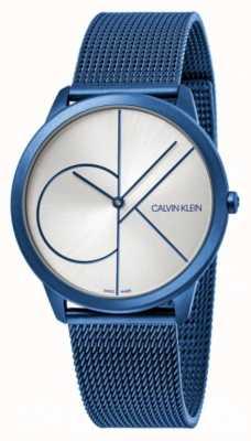 Calvin Klein Minimal | blaues mesh armband | silbernes Zifferblatt | K3M51T56