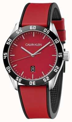 Calvin Klein | Herren komplettes rotes Kautschukband | rotes Zifferblatt | K9R31CUP