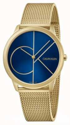 Calvin Klein Minimal | goldgeflecht armband | blaues Zifferblatt | K3M5155N