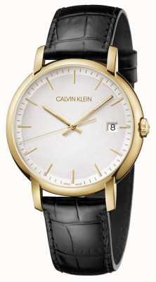 Calvin Klein | Herren minimal | schwarzes Lederband | weißes Zifferblatt | K9H215C6