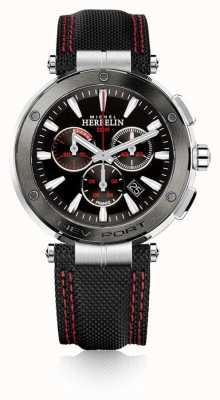 Michel Herbelin | herren | newport | roter und schwarzer chronograph | Nylon | 37688/AG44