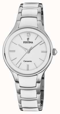 Festina | damen keramik | silber / weißes armband | weißes Zifferblatt | F20474/1