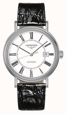 Longines | présence les grandes classiques | schwarzes leder weißes zifferblatt L49224112