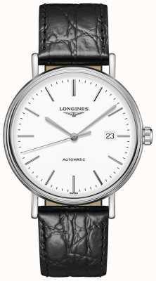 Longines Présence les grandes classique schwarzes Lederband L49224122