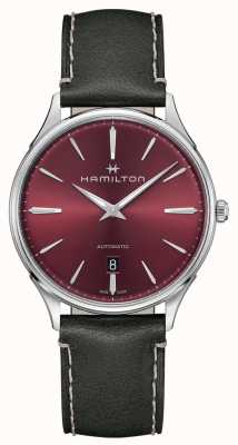 Hamilton Jazzmaster thinline | automatisch | rotes Zifferblatt | grauer Gurt H38525771