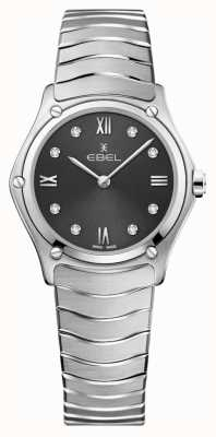 EBEL Frauensport Klassiker | graues Zifferblatt | Diamant-Set | rostfrei 1216416A