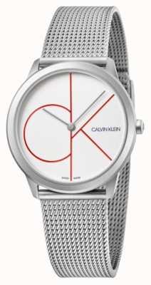 Calvin Klein | minimal | Edelstahlgewebe Armband | silbernes Zifferblatt | K3M52152