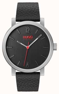 HUGO #rase | schwarzes Lederband | schwarzes Zifferblatt 1530115