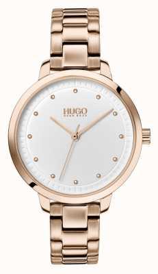 HUGO #achieve | roségold ip armband | weißes Zifferblatt 1540037