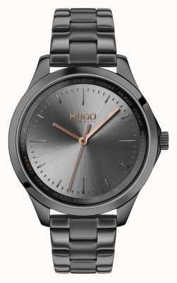 HUGO #furchtlos | graues ip armband | graues Zifferblatt 1540042