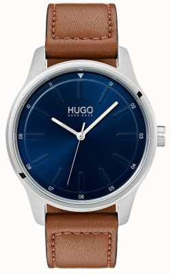 HUGO #dare   braunes Lederband   blaues Zifferblatt 1530029