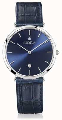 Michel Herbelin | herren | epsilon | blaues Lederband | blaues Zifferblatt | 19406/15BL