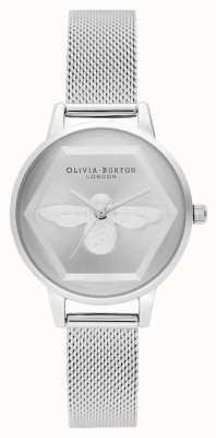 Olivia Burton | 3D-Bienen-Wohltätigkeitsuhr | silbernes Mesh-Armband l OB16AM168