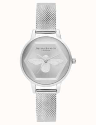 Olivia Burton | Wohltätigkeitsuhr der Biene 3d | Silber-Mesh-Armband l OB16AM168