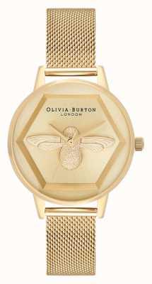 Olivia Burton | Wohltätigkeitsuhr der Biene 3d | Gelbgold-Mesh-Armband | OB16AM169