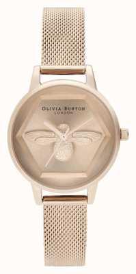 Olivia Burton | Wohltätigkeitsuhr der Biene 3d | Roségold-Mesh-Armband | OB16AM170