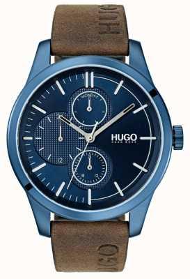 HUGO #entdecken | braunes Lederband | blaues Zifferblatt 1530083