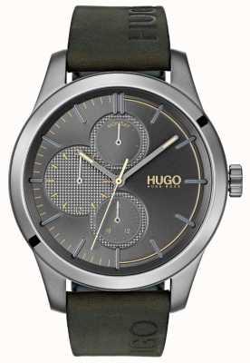 HUGO #entdecken   grünes Lederband   graues Zifferblatt 1530084