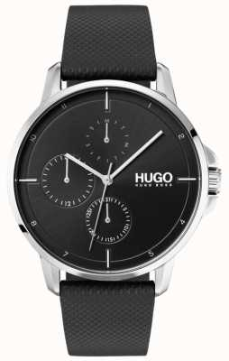HUGO #focus | schwarzes Lederband | schwarzes Zifferblatt 1530022
