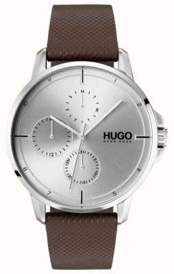 HUGO #focus | braunes Lederband | silbernes Zifferblatt 1530023