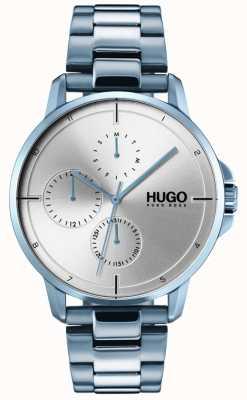 HUGO #focus   blaues ip armband   silbernes Zifferblatt 1530051