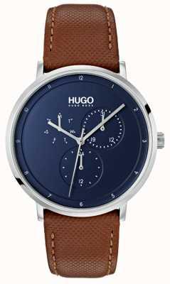 HUGO #guide | braunes Lederband | blaues Zifferblatt 1530032