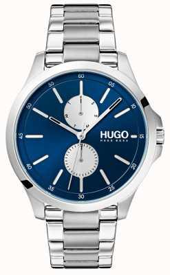HUGO #springen | Edelstahlarmband | blaues Zifferblatt 1530004