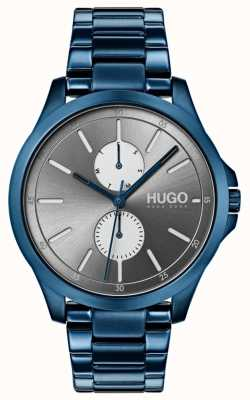 HUGO #springen   blaues ip armband   graues Zifferblatt 1530006