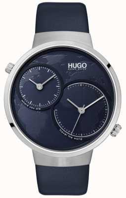HUGO #travel   blaues Lederband   blaues Zifferblatt 1530053