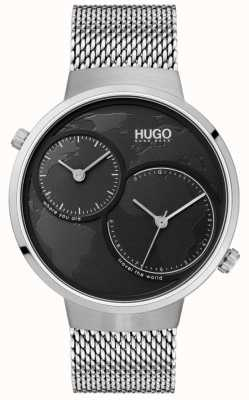 HUGO #travel | Edelstahlgewebe | schwarzes Zifferblatt 1530055