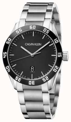 Calvin Klein | Männer | konkurrieren | Edelstahlarmband | schwarzes Zifferblatt | K9R31C41